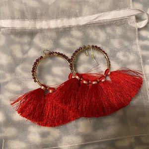 NWOT Express red tassel gold hoop jewel earrings